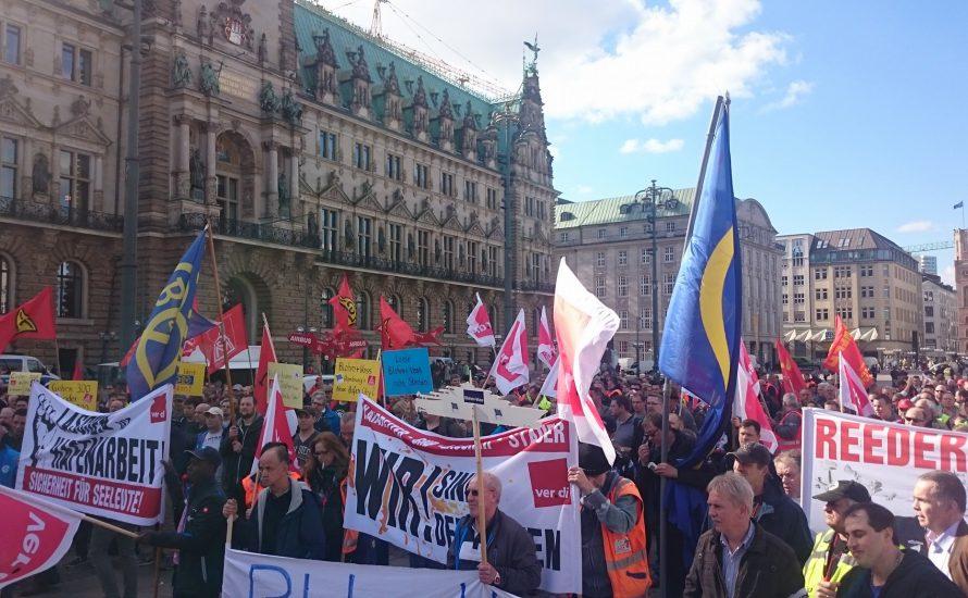 [mit Video und Fotogalerie] Arbeitskampf bei Blohm und Voss in Hamburg
