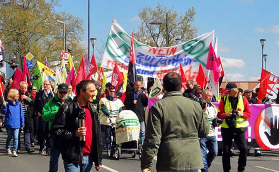 Demonstration für das Streikrecht