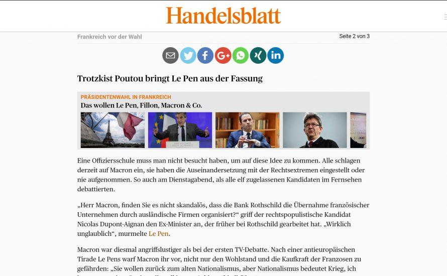 Auch die deutsche Presse spricht über Poutou