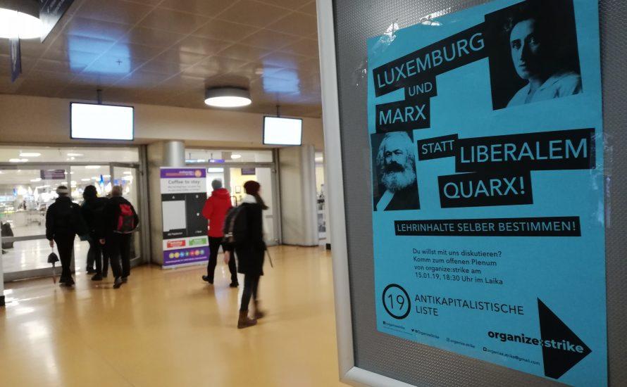 Wahlen zum StuPa an der FU Berlin:  Wählt die Antikapitalistische Liste 19 - organize:strike!