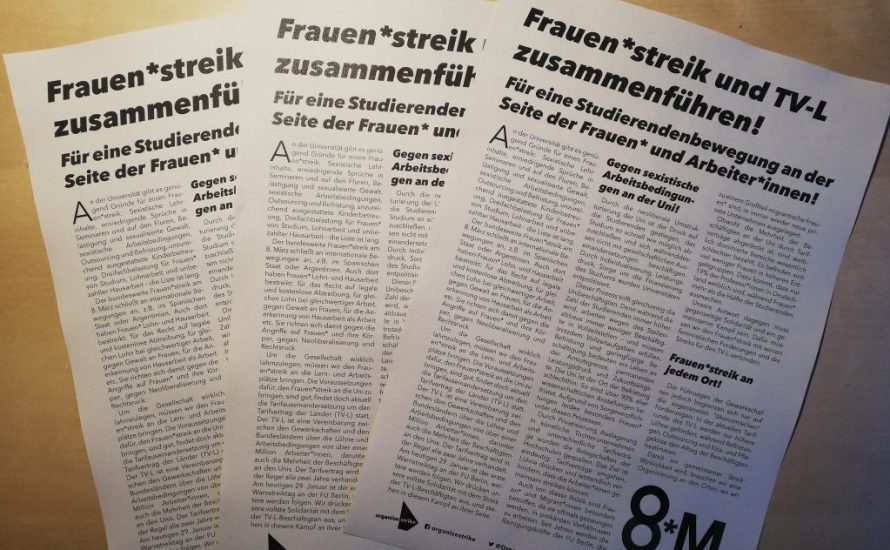 Frauen*streik und TV-L zusammenführen! Für eine Studierendenbewegung an der Seite der Frauen* und Arbeiter*innen!