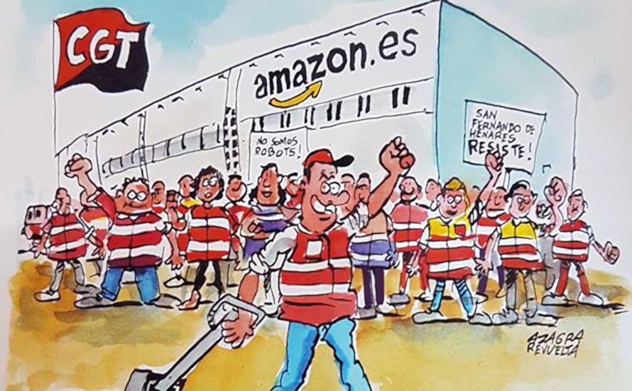 Amazon-Arbeiter aus Deutschland überbringt Solidarität nach Madrid [mit Video]