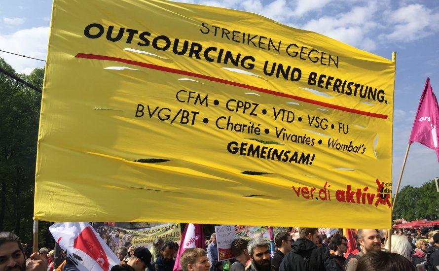 [Fotos und Videos] Berlin: 1. Mai gegen Auslagerung und Befristung!