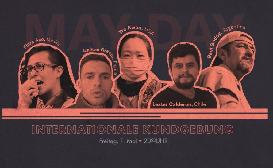 Acht der kämpferischen sozialistischen Arbeiter*innen, die bei der Internationalen Mai-Kundgebung sprechen