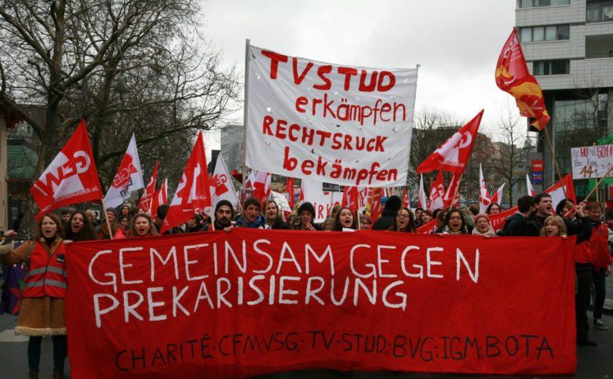 1. Mai in Berlin: Die Arbeitskämpfe von TVStud und VSG unterstützen