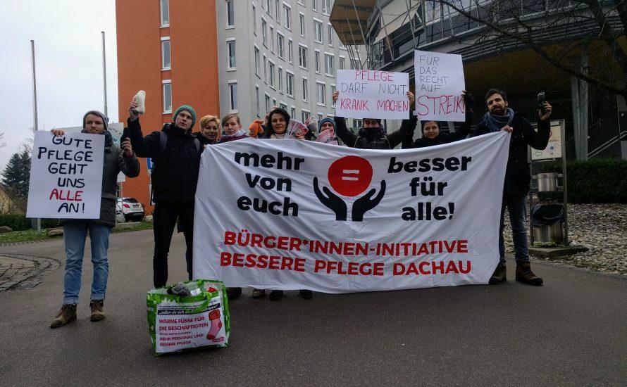 Mehr von euch ist besser für alle: Solidarität vor dem Helios-Amper-Klinikum Dachau