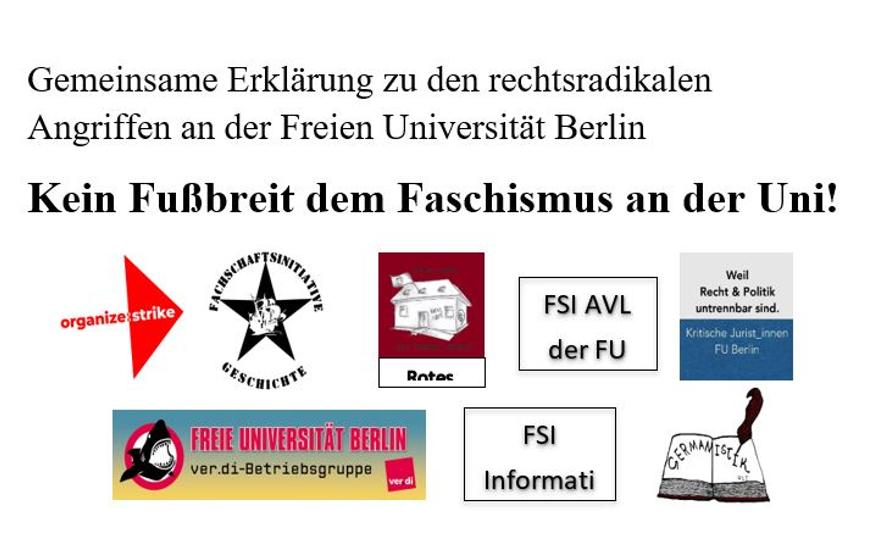 Hochschulgruppen stellen sich gegen rechsradikalen Angriffe an der FU