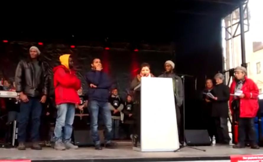 [Video] Refugee Struggle for Freedom auf Gewerkschaftsdemo gegen Integrationsgesetz