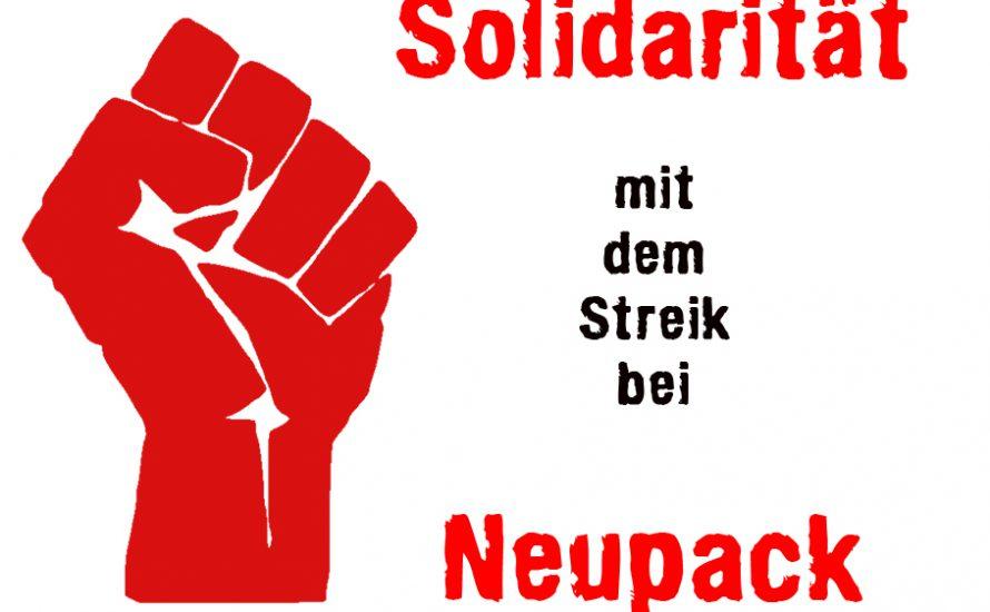 Soli-Kundgebung für den Neupack-Streik