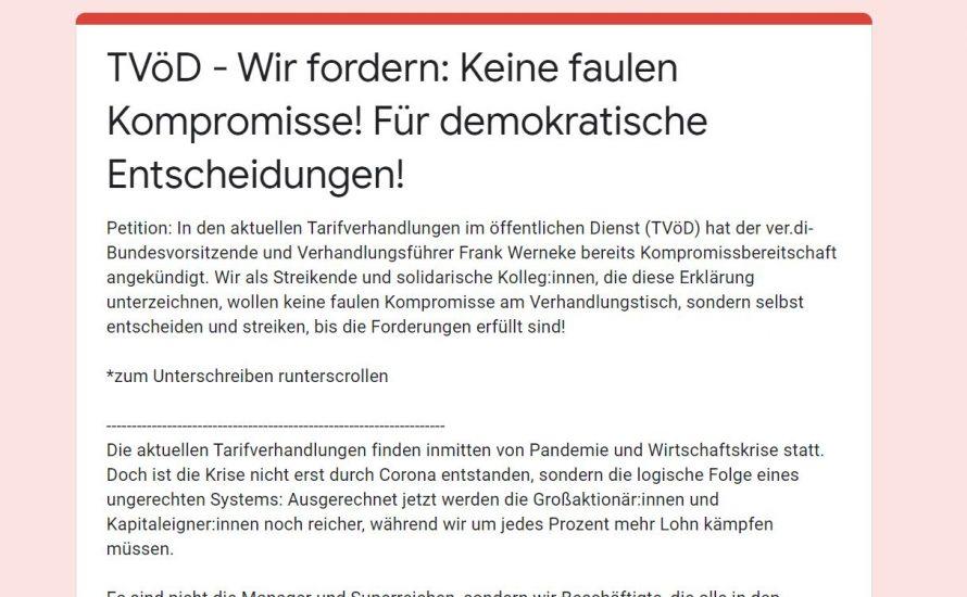 TVöD: Mehr als 150 Beschäftigte fordern weitere Streiks und mehr Streikdemokratie!