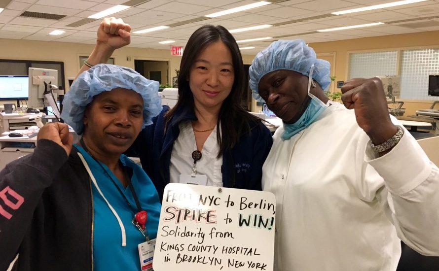 Krankenhaus-Beschäftigte aus New York grüßen die Streikenden bei der CFM