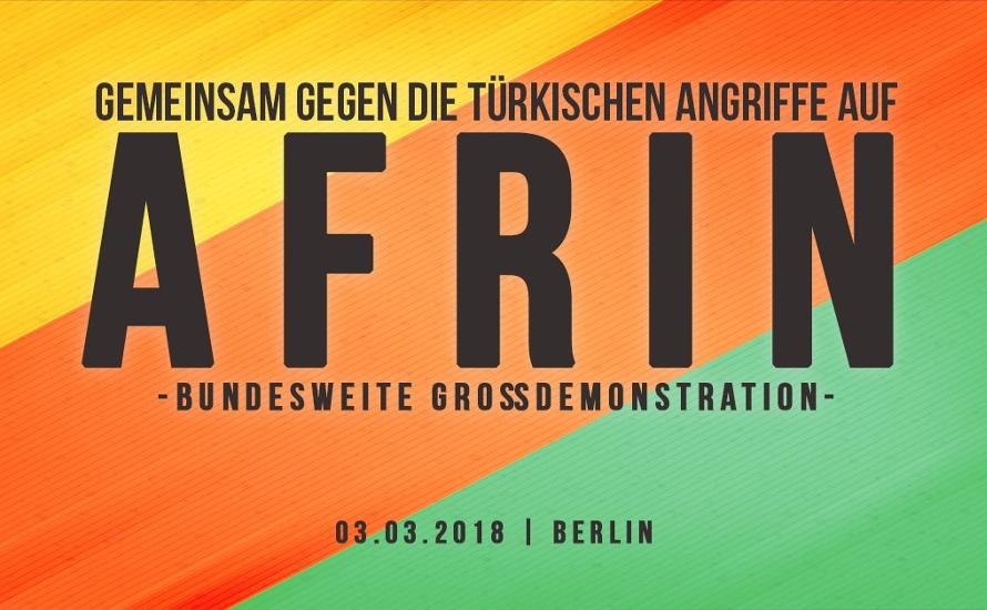 Demonstration in Berlin: Gegen die türkischen Angriffe auf Afrin
