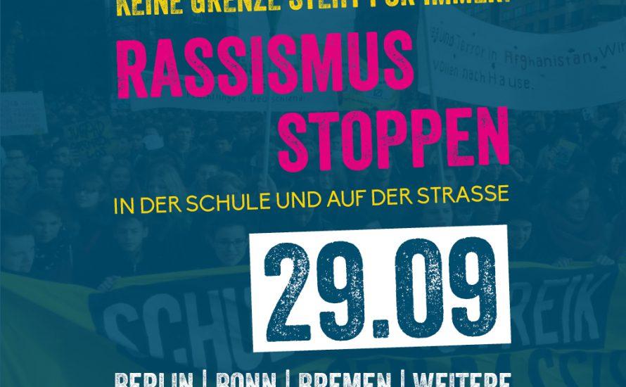 Jugend gegen Rassismus: Bundesweiter Streik- und Aktionstag am 29. September!