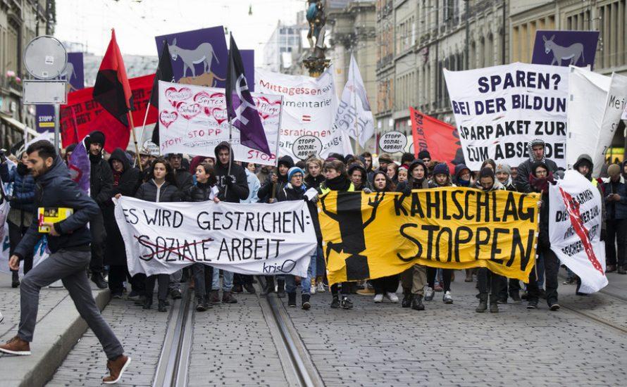 Bern: Zaghafter Protest gegen Steuersenkungen & Sparpakte
