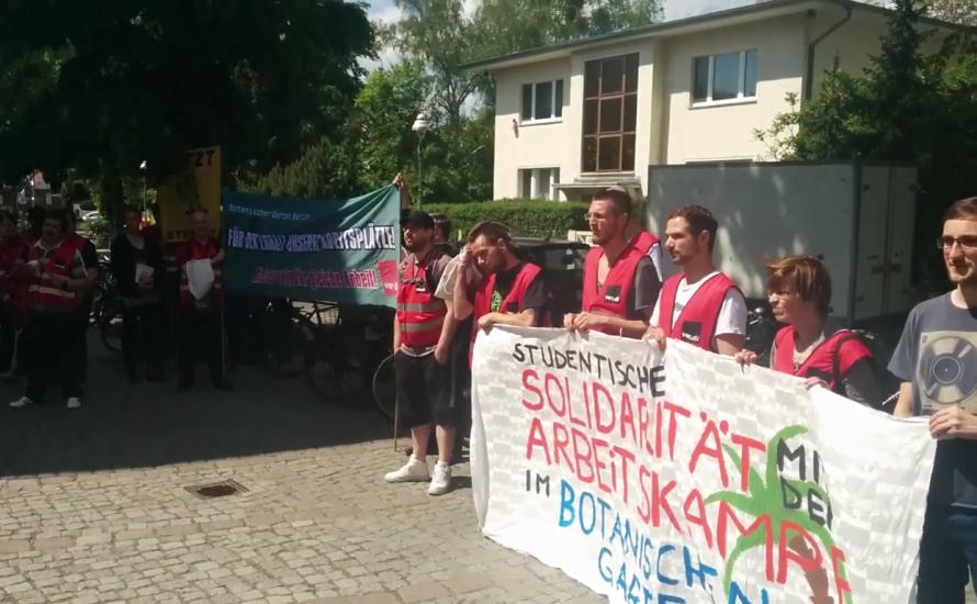 [Video] Gleicher Lohn für gleiche Arbeit: Streik im Botanischen Garten in Berlin
