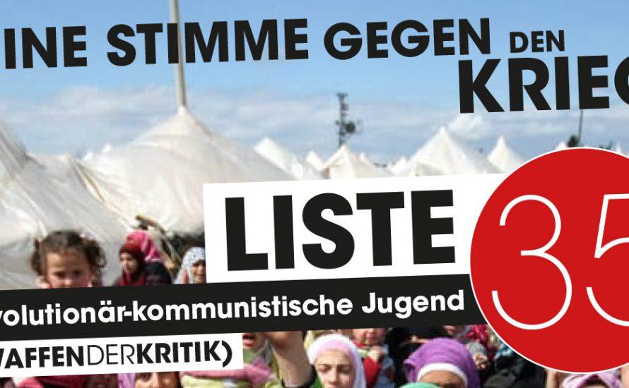 FU-StuPa Wahlen: Deine Stimme gegen den Krieg!