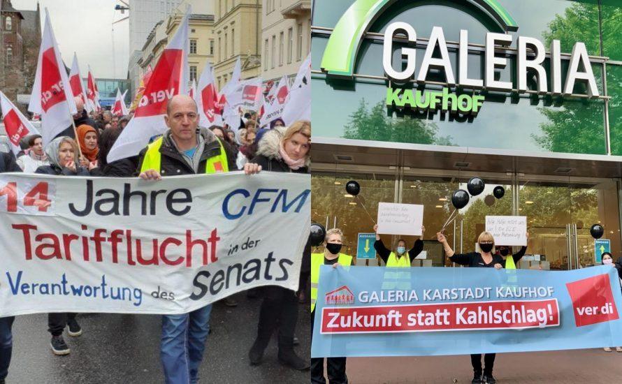 Warum gehören die Kämpfe von Kaufhof, CFM und TVöD zusammen?