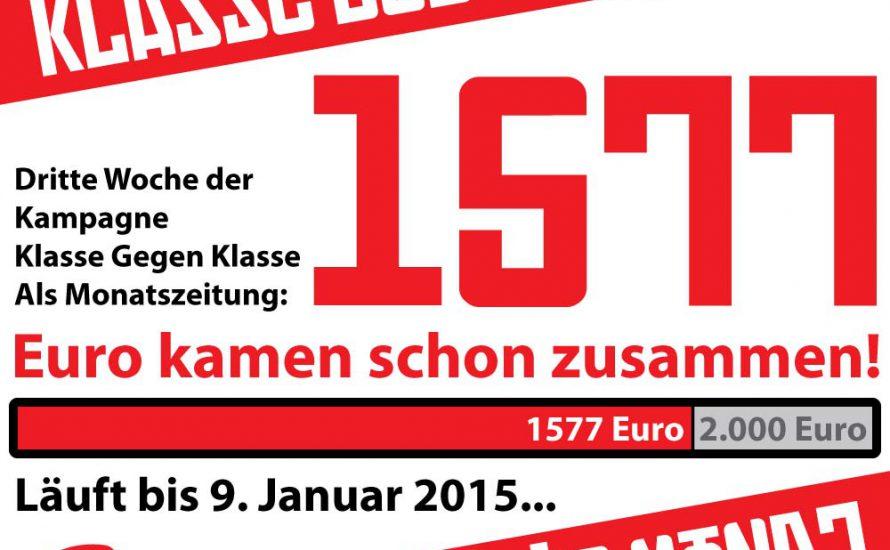 Klasse Gegen Klasse wird Monatszeitschrift: Dritte Woche der Kampagne