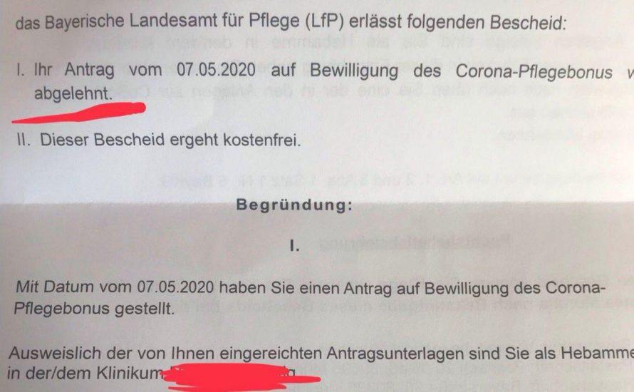 Wenn selbst das Minimum noch zu viel ist – der bayerische Corona-Pflegebonus