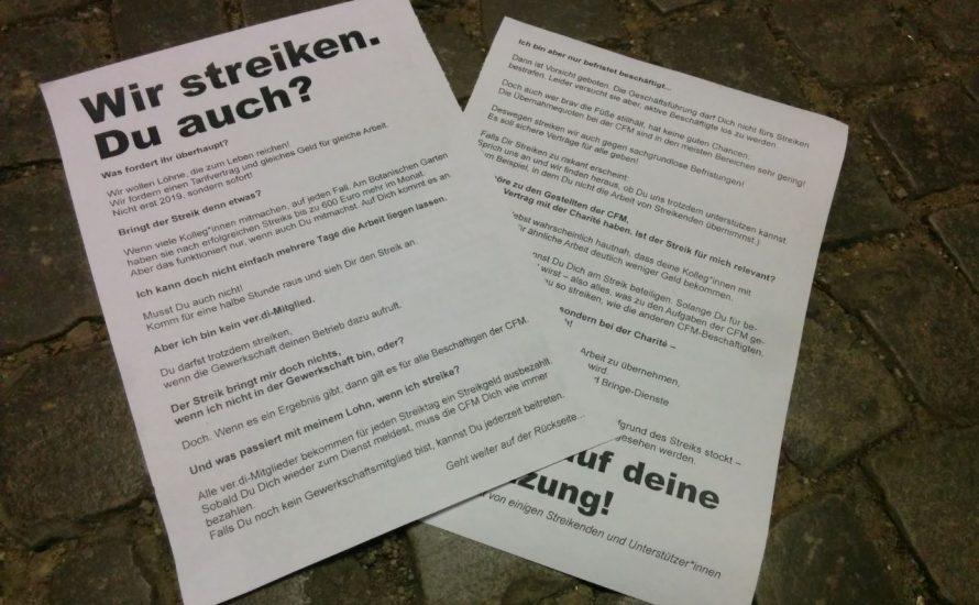 CFM: Wir streiken. Du auch?