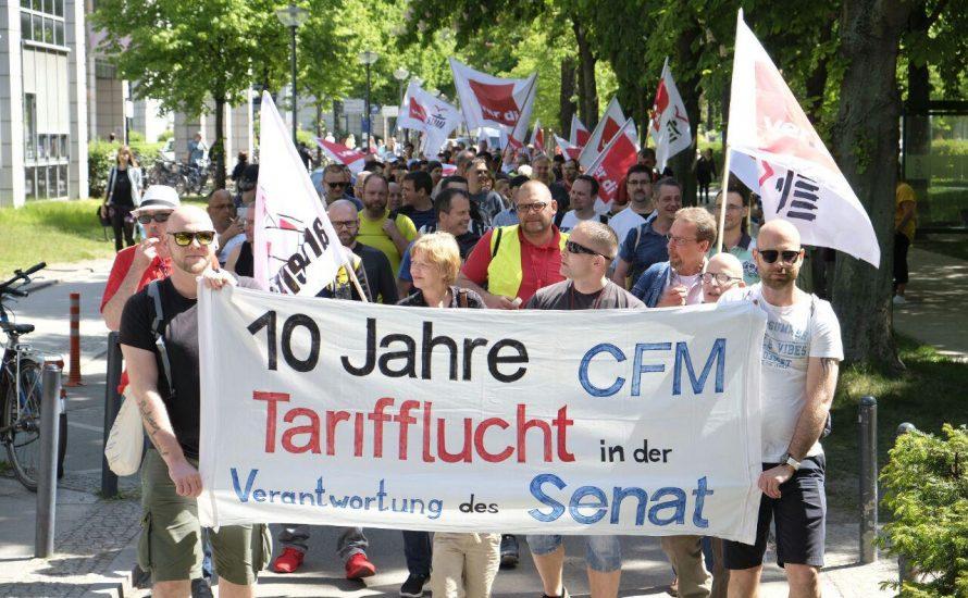 150 Menschen beim ersten Streiktag an der Charité Facility Management