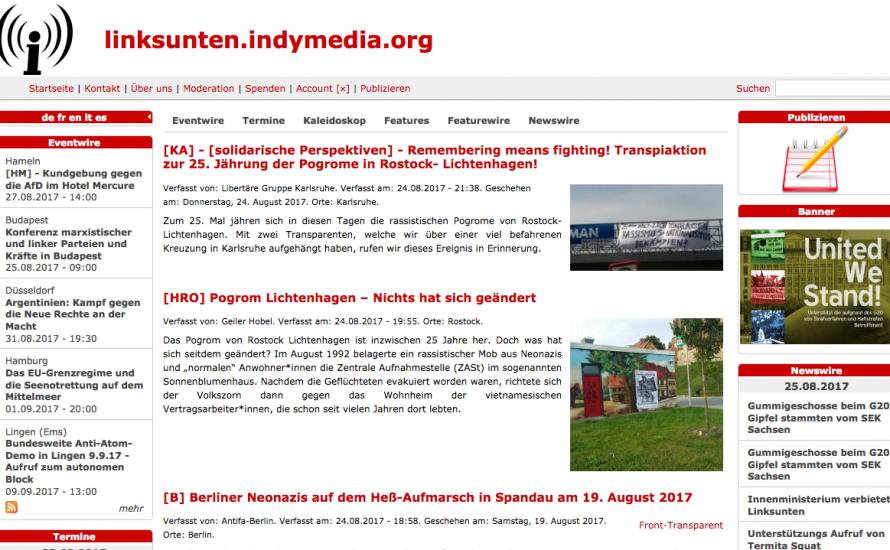 Innenministerium verbietet kritische Nachrichtenseite linksunten.indymedia