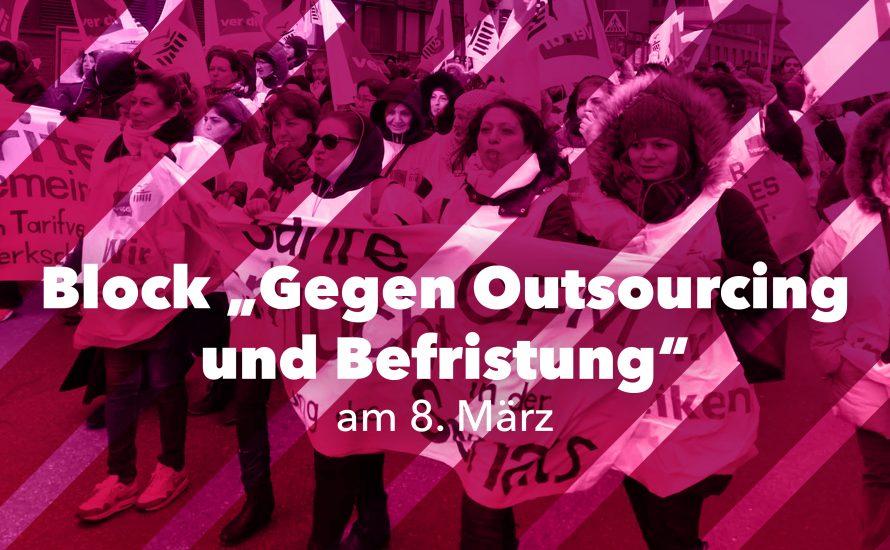 Am 8. März die Kraft der Arbeiterinnen gegen Outsourcing und Befristung auf die Straße tragen